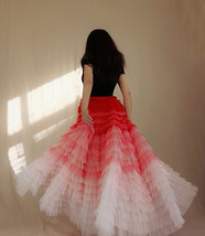 Bridal Tiered Tulle Skirt Outfit A-line Full Tulle Wedding Party Skirt,Red white image 5