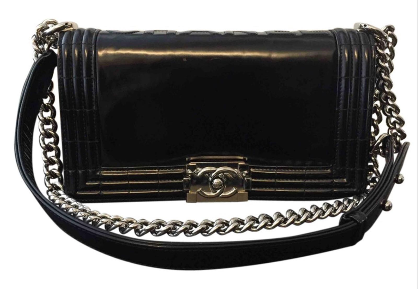 100% Authentic Chanel Black Glazed Calfskin Medium Boy Flap Bag Silver Hardware