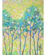 "Akimova: Spring, tree, landscape, purple, acrylic, 18""x24"" - $44.00"