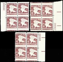 """1946, Three Misperforated ERROR """"C"""" Stamp Plate Blocks Mint NH - Stuart Katz - $50.00"""