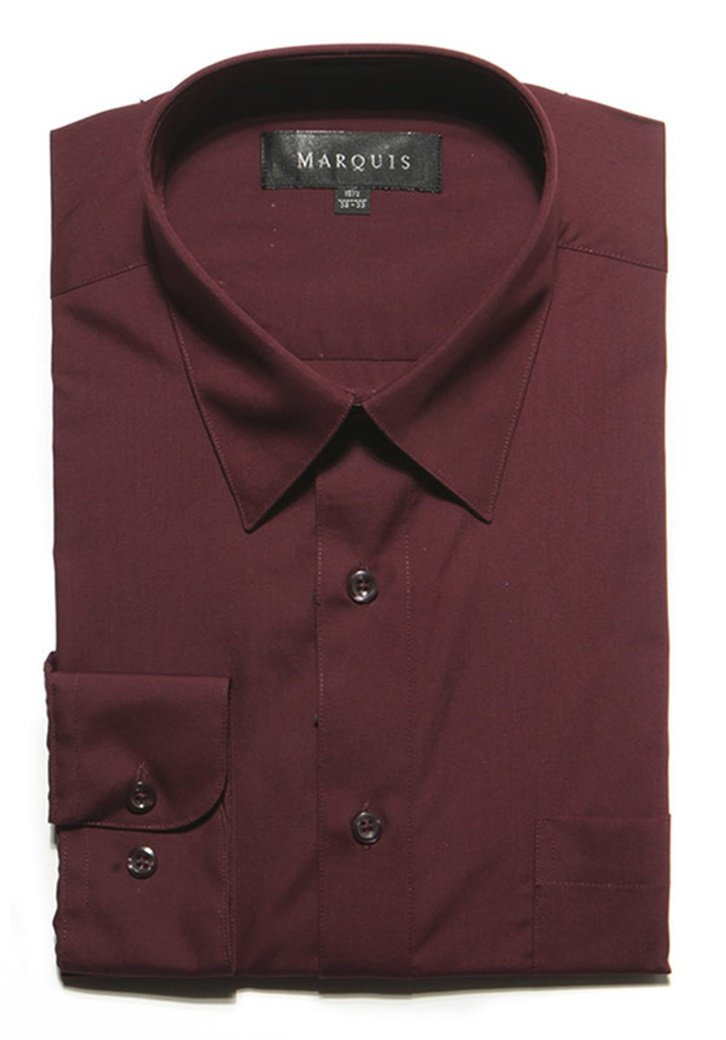 Primary image for Marquis Men's Burgundy Long Sleeve Regular Fit Dress Shirt