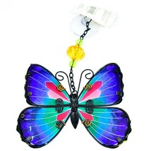 Regal Art & Gift Hand Painted Metal Glass Blue Butterfly Sun Catcher Suncactcher image 2