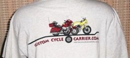 Custom Cycle Carrier Biker Rider T-Shirt Gray Large Motorcycle Hauler - $9.89
