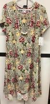 NWT LuLaRoe 2.0 Large Cream Black Red Green Leopard Floral NO POCKET Carly Dress - $59.39
