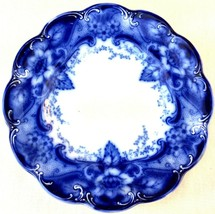 "Antique Johnson Bros Flow Blue Argyle Pattern 7"" Dessert Plate Porcelain... - $24.74"