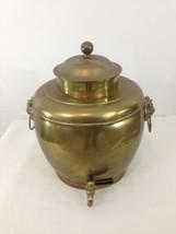 Vtg 3.5 Gallon Brass Plated Metal Bulldog Handle Water Wine Samovar Disp... - $78.21