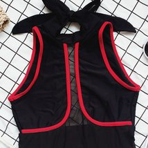 Women's Solid One Piece Splicing Orange Black Racing Bathing Suit Swimwear image 4