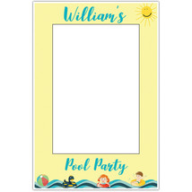 Yellow Kids Pool Party Selfie Frame Poster - $16.34+
