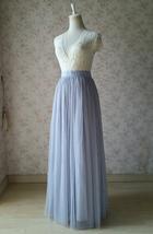 SILVER GRAY Wedding Bridesmaid Tulle Skirt High Waist Gray Maxi Full Tulle Skirt image 4