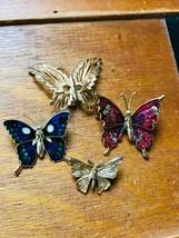 Estate Lot of 4 Goldtone Wire Blue Enamel & Pink Glittery BUTTERFLY Moth... - $17.62