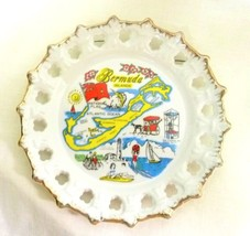 Vintage Souvenir Plate Bermuda Islands Beaches Sun Sailing Biking Lighth... - $22.51