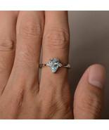 Three Stone Aquamarine Simulants Engagement ring - Silver Ring - Wedding... - $84.00
