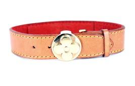 Authentic Louis Vuitton Monogram Brown Leather Bracelet w/ Floral Metal Bangle - $167.31