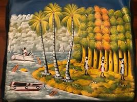 Hatian Folk Art Acrylic Painting 20 x 24 inch on black canvas Haiti wome... - $49.49