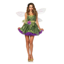 3pc Woodland Fairy Dress Forrest Nymph Tinker Bell Wings Organza Dress C... - $73.99