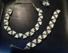 Vintage Coro Set Demi Parure Cream Pearlized Confetti Lucite Necklace Br... - $27.83