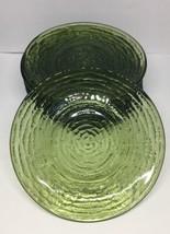 "set of 8 Vintage Anchor Hocking Green Soreno  5 3/4"" Saucers - ripple gl... - $28.05"
