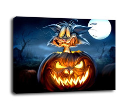 "Fantasy Art Hallowmas Gift Oil Painting Print On Canvas Decor""pumpkins a... - $16.82+"