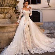 Celeb Vintage Bridal Euro Designer Long Sleeve Button Illusion Floral Embroidere image 1