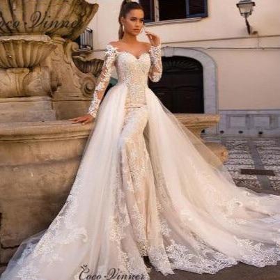 N illusion delicate embroidery detachable wedding dresses robe de mariage sirene champagne w0613