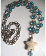 Seaglass & Starfish Lava Rock Wire Wrapped Necklace - $17.00