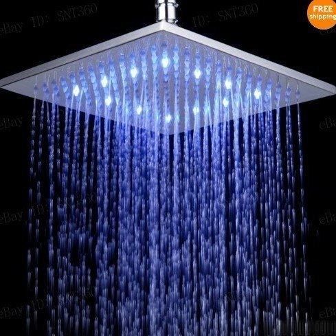 Primary image for 10 inch Square Temperature Sensor Changing //7 Color LED Rainfall Shower Head