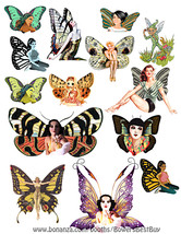 fairy collage sheet printable die cuts clipart digital download craft fa... - $3.00