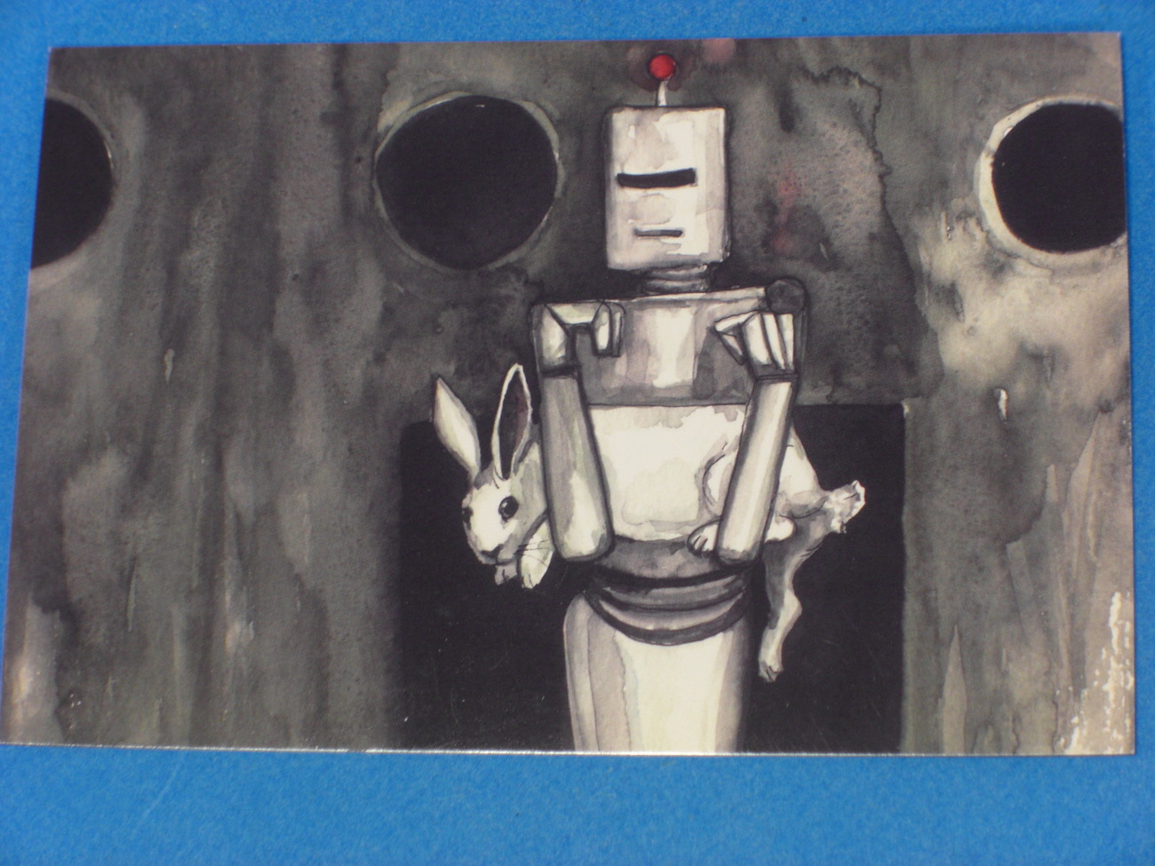 Android & Little White Rabbit Postcard Nakisha VanderHoeven