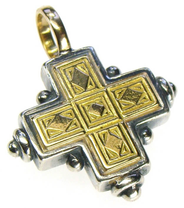 Gerochristo 5014 - Solid 18K Gold & Silver Byzantine Medieval Cross Pendant