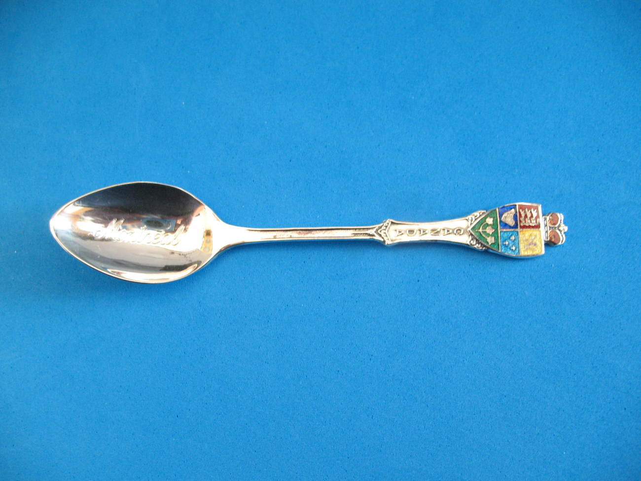 Montreal Quebec Sterling Silver Souvenir Collector Spoon Vintage Enamel Shield
