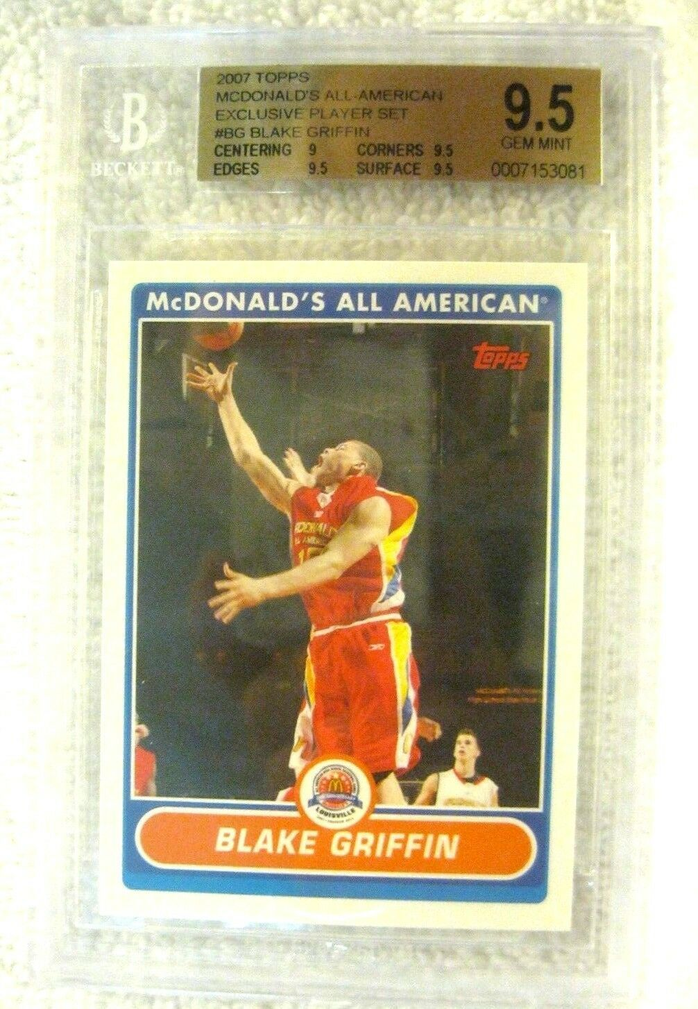 Blake Griffin RC 2007 Topps McDonald's All-American RC GEM BGS 9.5-Cippers F RC