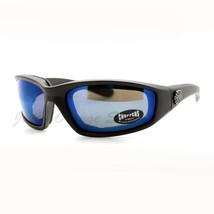 Choppers Foam Padded Biker Goggle Sunglasses Unisex Matte Black Blue Mir... - $10.64