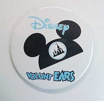 "Primary image for Vintage Disney Mickey Mouse Volunt Ears Pin Back Button -3"" Diameter"