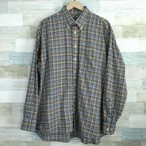 Gitman Bros Gingham Flannel Shirt Blue Brown Button Down Cotton USA VTG ... - $66.32