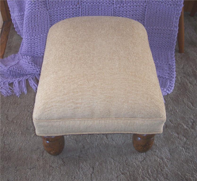 Beige Print Chenille Footstool/Ottoman