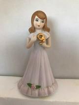 Vintage Growing Up Birthday Girl 9 Years Enesco Porcelain Brunette - $10.62