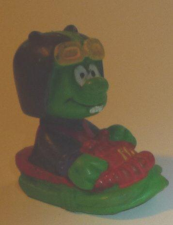 "ASTROSNIKS green alien PVC Figure in ship 2"", 1984  BULLY McDonalds"
