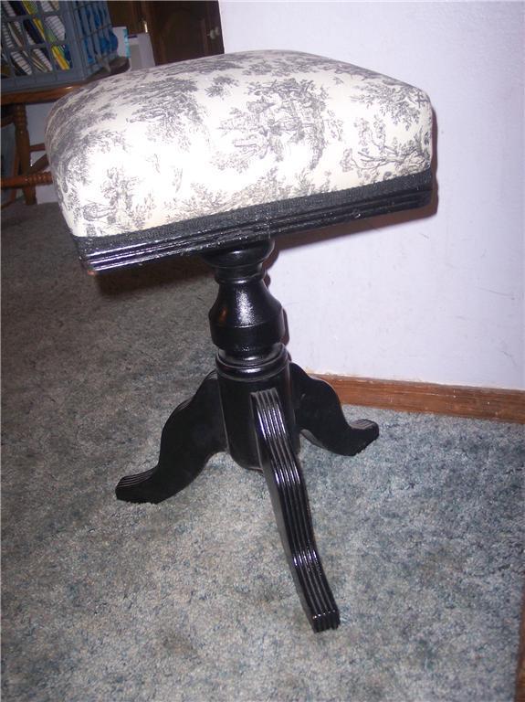 Black & White Toille Organ Stool/Piano Stool