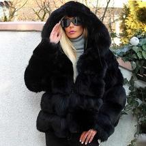 Women's thick Faux Fur Fox Fur Hooded Coat image 3