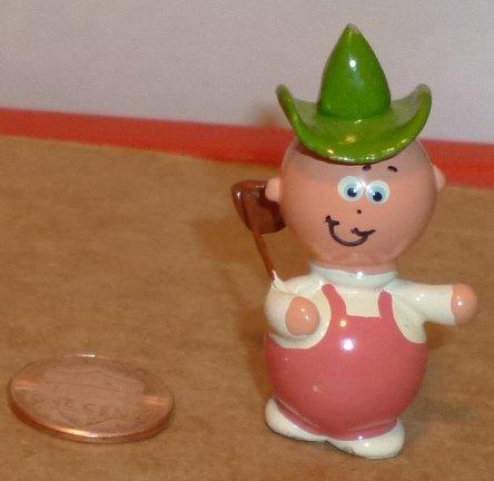 Doll House DOLLHOUSE mini ceramic figurine MAN green hat