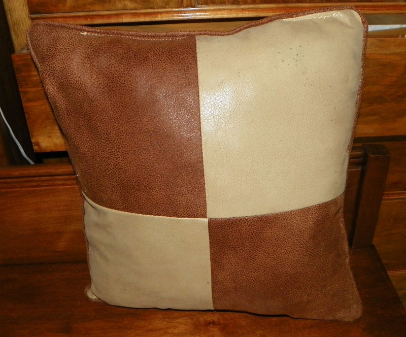 Brown and Beige Suede Patchwork Pillow 16 x 17