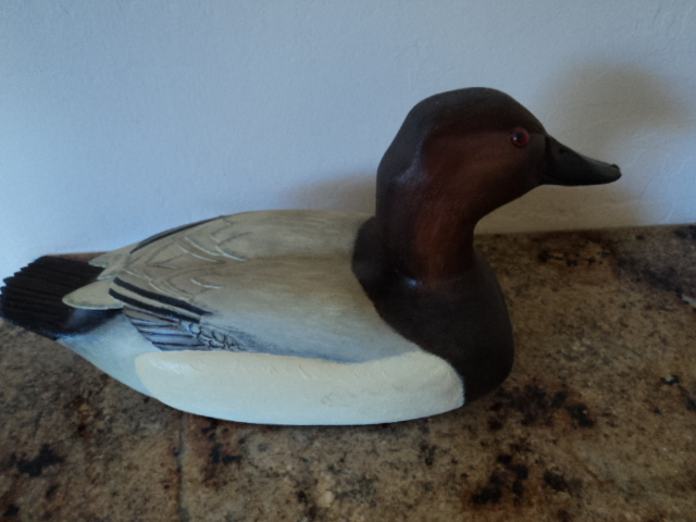Vintage Canvasback Drake Wood Decoy Handmade