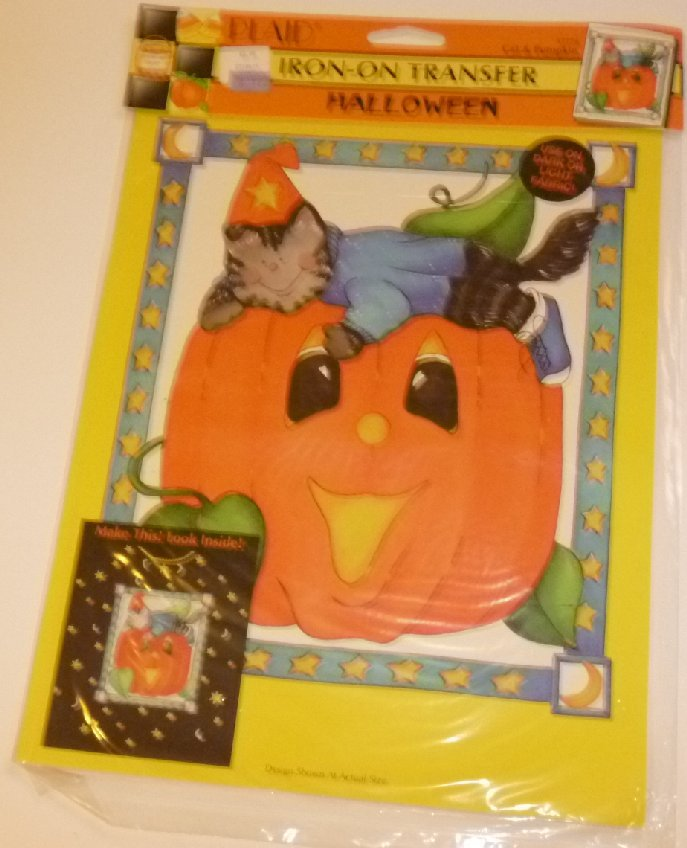 HALLOWEEN IRON ON Transfer CAT AND PUMPKIN Plaid MIP