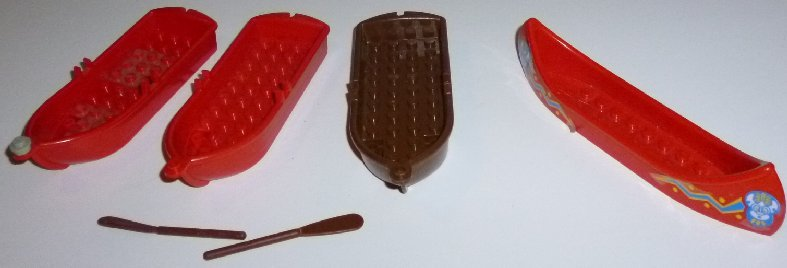 LEGO Parts lot of 2 red & 1 brown ROW BOATS & 1 canoe
