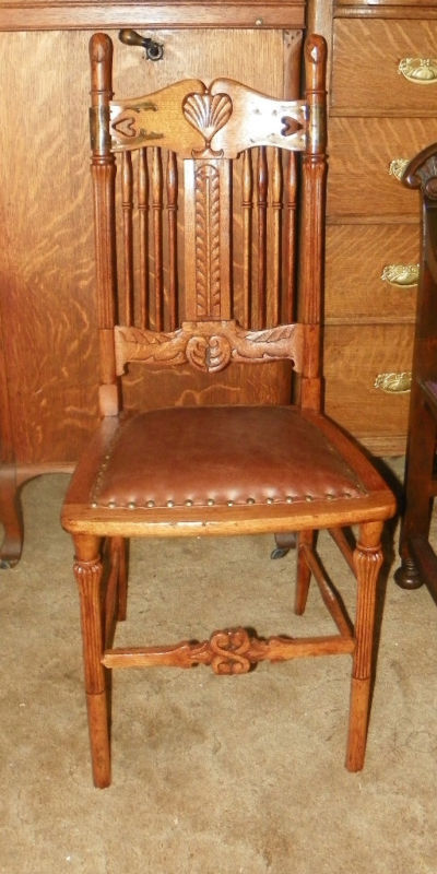 Primary image for Carved Q-sawn Oak Leather Sidechair Desk Chair