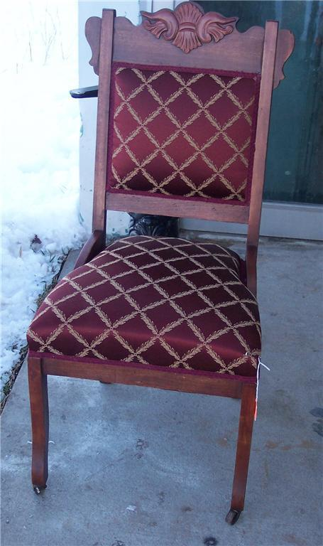 Carved Victorian Sidechair/Parlor Chair-burgundy print