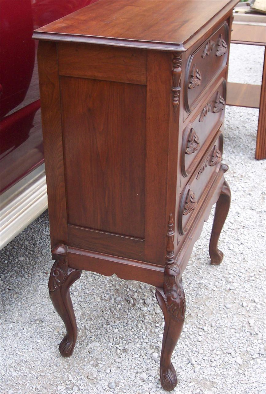 Carved Walnut 3 Drawer Chest of Drawers / Race Track