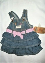 Oshkosh B'gosh Vestbak Girls 3-6m Denim Belt Ruffle Bib Overall Jumper D... - $15.83