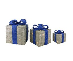 Northlight Set of 3 Lighted Silver with Blue Bows Sisal Gift Boxes Chris... - $77.34