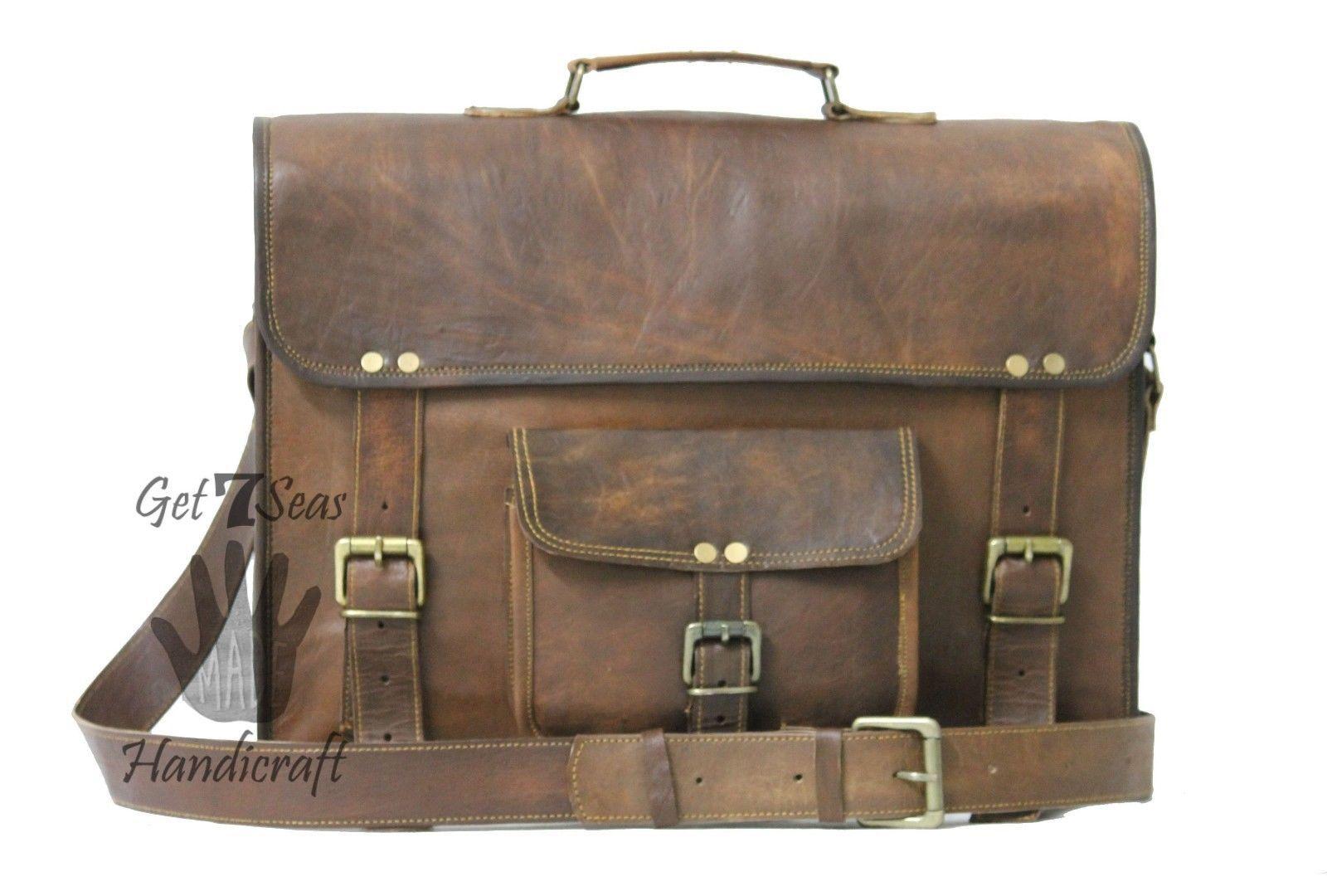 Vintage Leather Messenger Office Brown Laptop Satchel Bag Genuine Briefcase image 5